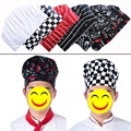 2017 Cheap 10PCS Cook Cap Working Cap Checkedout Working Cap Chef Hat Cloth Plaid Striped Plain Chef Cook Hat Party Chef Hat