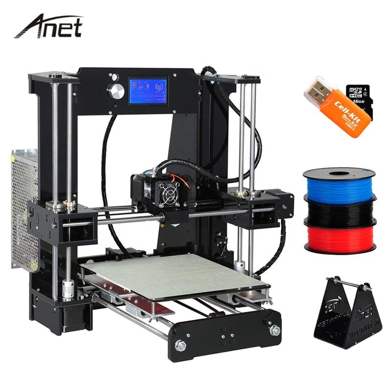 Anet de alta precisión A8 A6 de nivel automático Reprap i3 Impresora 3D Impresora Multi-idioma gran tamaño regalo PLA filamento de 8 GB tarjeta SD
