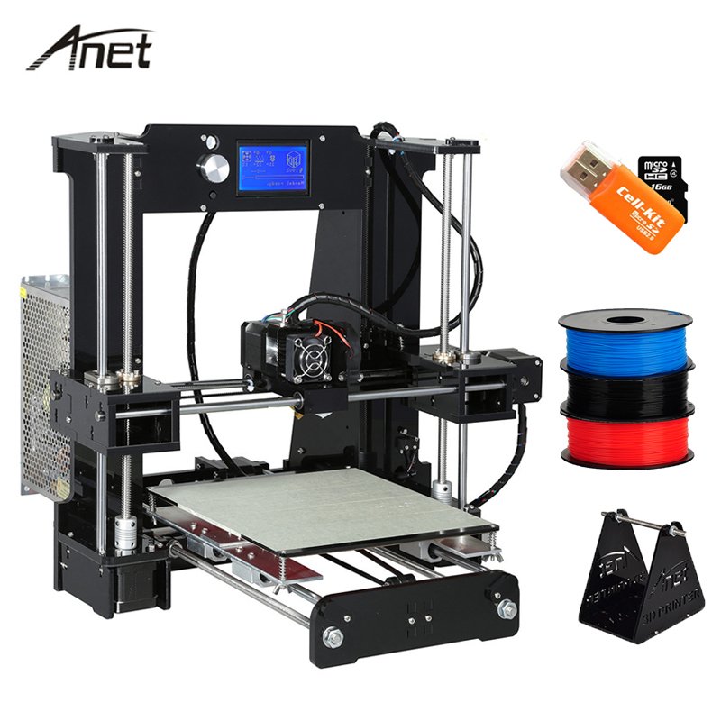 Anet High Precision A8 A6 Auto Level Replacement i3 Impresora 3D Printer Flersproget Big Print Størrelse Gave PLA Filament 8GB SD Card