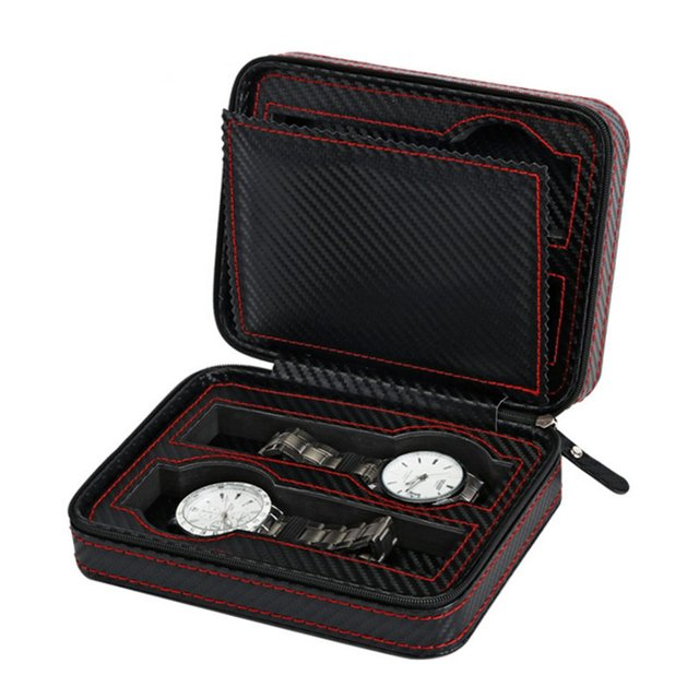 4/2 Slots Carbon Fibre Watch Box Display with Zipper watches bag Case Watches Di