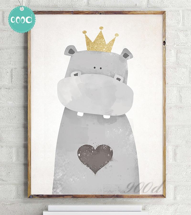 Aliexpress.com : Buy Cartoon Cute Hippo Canvas Art Print Painting ...