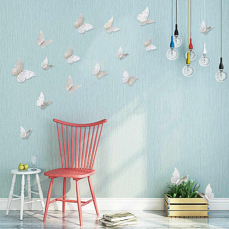 12 Pcs/lot 3D Logam Merasa Stiker Dinding Kamar Anak-anak Kupu-kupu Hollow Diy Home Decor Poster Dinding Dekorasi Pesta Pernikahan Dekorasi