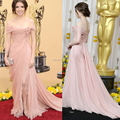 Modest Red Carpet Gows 2014 Off the Shoulder Evening Gowns Backless Pink Chiffon Celebrity Dresses