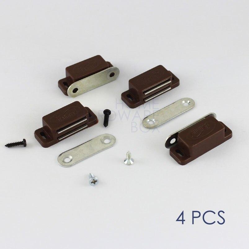 Magnetic Door Catch Magnet Cabinet Cupboard Door Latch 4 Pcs Brown Plastic