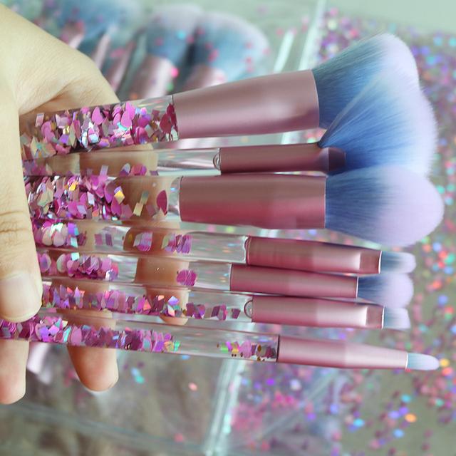 Liquid Glitter Crystal Makeup Brush Set 7pcs Diamond Professional Brushes Concealer Make Up Brush Kwasten  Fan Brush