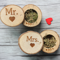 1 Set Of 2 Pieces Mr Mrs Vintage Rustic Engraved Wooden Ring Box Personalized Gift Wedding