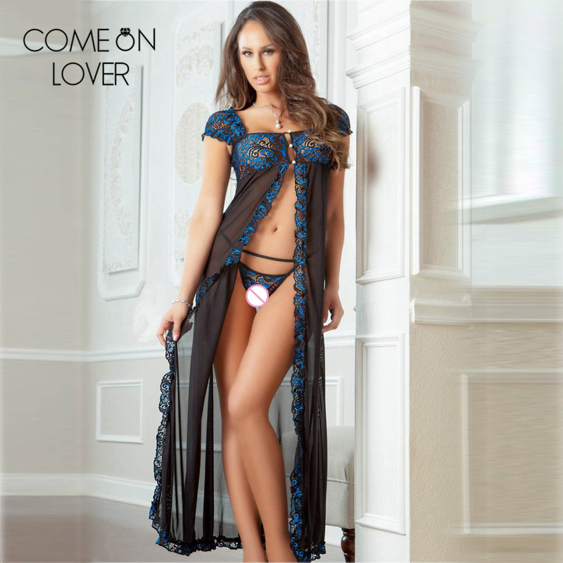 Comeonlover Blue green lace patchwork long sexy costume short sleeve large size nightgowns transparent sexy peignoir RL80343
