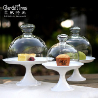 Soft Time European High Glass Foot Cake Cover Fruit Tray Snack Holder Cover Glass Dust Cover