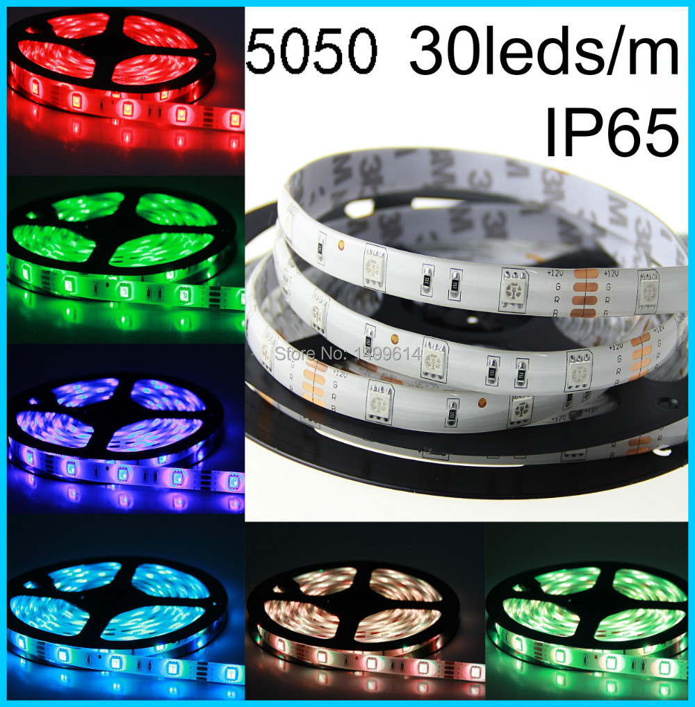 5m/lot LED strip SMD 5050 flexible light RGB 30leds/m waterproof RGB LED Strip ligh LED Tape For Background Decor lighting ...