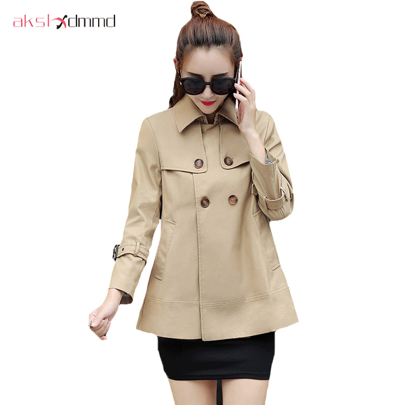 AKSLXDMMD 2019 New Fashion Women Slim Cotton Casual Short Khaki   Trench   Coat with Double Breasted Overcoat YR146