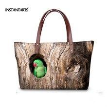 INSTANTARTS Cute Animal Printed Women Handbags Casual Big Capacity Travel Top-handle Bag for Ladies 3D Parrot Tote Shoulder Bags