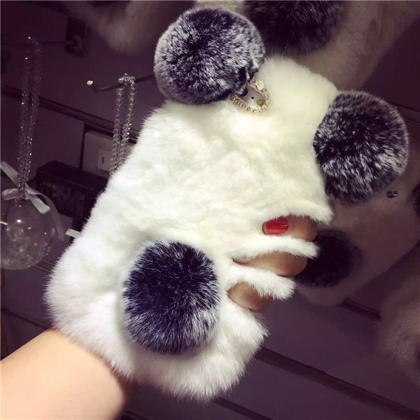 Lovely PANDA Real Rex Rabbit Fur Case For iPhone X 8 Samsung Galaxy Note 8 S8 S8 Plus 3D Soft Fur Cover Winter Warm capa para
