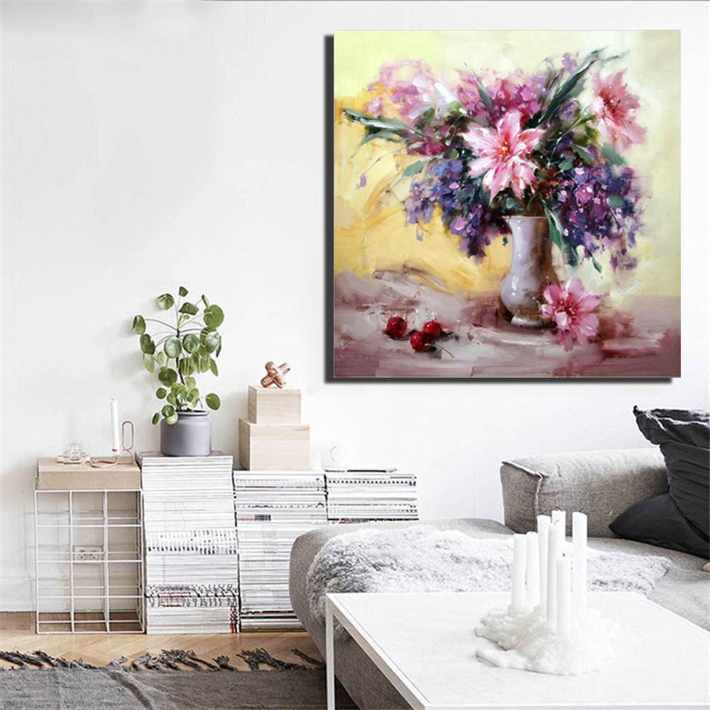 Home Goods Artwork: Colorful Flowers And Grape Oil Paintings Print On Canvas