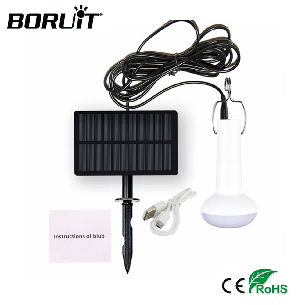 BORUiT Solar LED Camping Light USB Recharger Outdoor Tent Light 3.7v Fishing Hanging Lanters Bulb Emergency Hiking Flashlight
