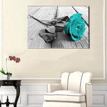 Black and White Blue Rose Canvas Huge Wall Art Picture for Kitchen Bathroom Decor Flower Floral Vintage Home Dropship