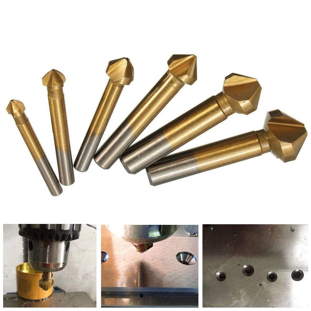 6pcs/Set 3 Flute HSS Hard Metals Titanium Three Edge Chamfer Chamfering End Mill Cutter Bit Drill Bit Countersink Set