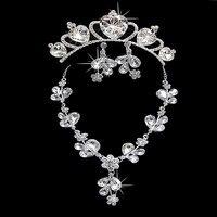 свадьба головной баре новый свадебные аксессуары кристалл серьги ожерелья j80