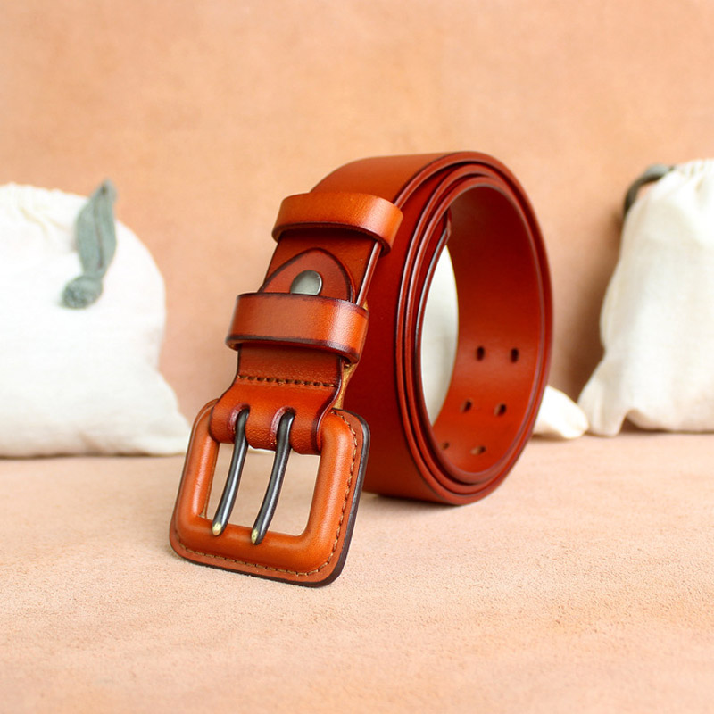 Hot Designer Genuine Leather Double Pin Buckle Belt Anti Allergy Luxury Jeans Belts Strap Quality Assuarance