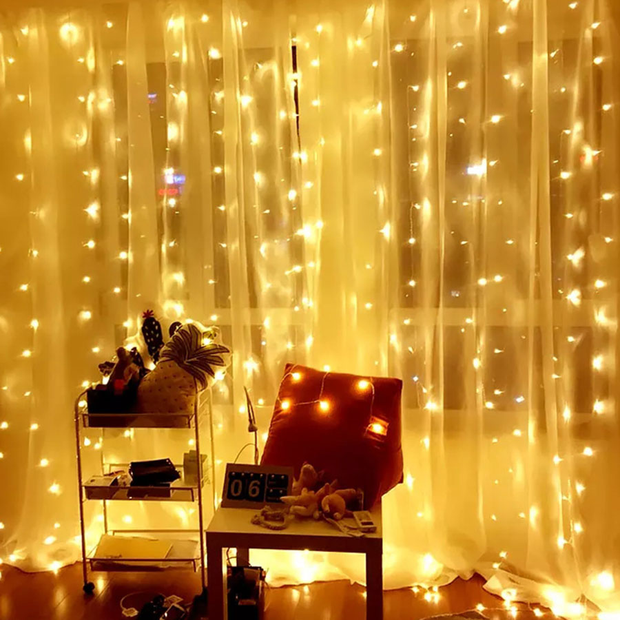 Thrisdar 3x2M 3x3M Curtain Icicle LED String Fairy Light Outdoor Christmas Fairy Garland Light Wedding Party Window Icicle Light