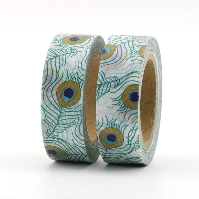 Charmant 2PCS/lot Cute Peacock Feather Decorative Washi Tape Paper DIY Scrapbooking  Adhesive Tape Mask 1.5