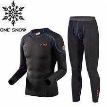 ONE SNOW Brand Outdoor Hiking Fleec Jacket Thermal Underwear Set Men Winter Thermal Underwear Soft Comfortable Stretch Warm CAXA