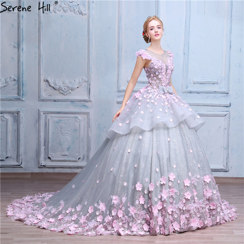 Pink flower ball gown wedding dress bridal dress robe de for Wedding dresses less than 300