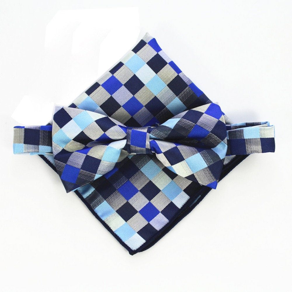 RBOCOTT Mens Paisley & Plaid Bow Ties And Handkerchief Sets Fashion Bowtie And Hanky For Men Wedding Party Dress Suit Accessorie