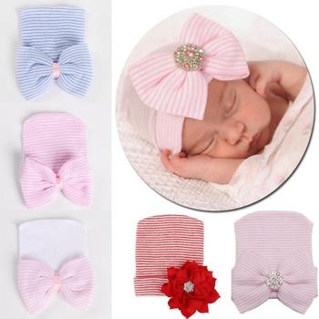 Sombrero de bebé de alta calidad, sombrero grande de mariposa diamante brillante tejido para bebé recién nacido, sombrero de neumáticos, sombrero de rayas