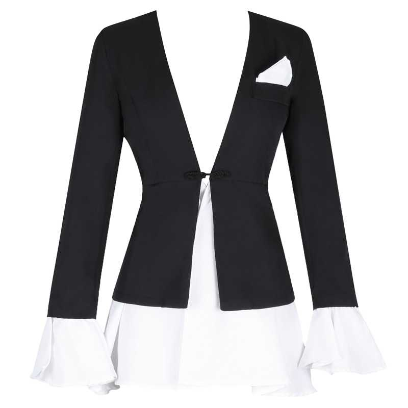 Ocstrade черный V образным вырезом с длинным рукавом мини высокое качество Bodycon платье FSY005-Black