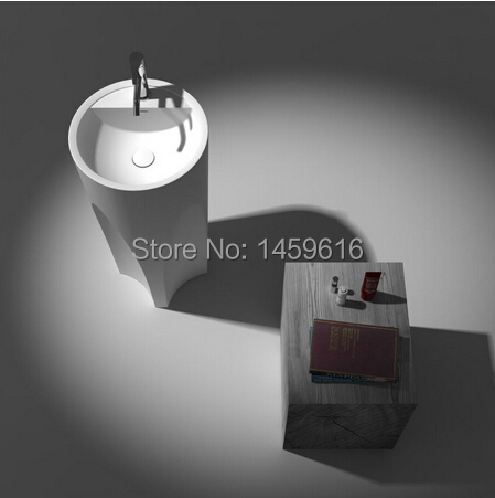 Bathroom Round Pedestal Washbasin Solid Surface Stone Cloakroom Freestanding Vanity Sink W9008