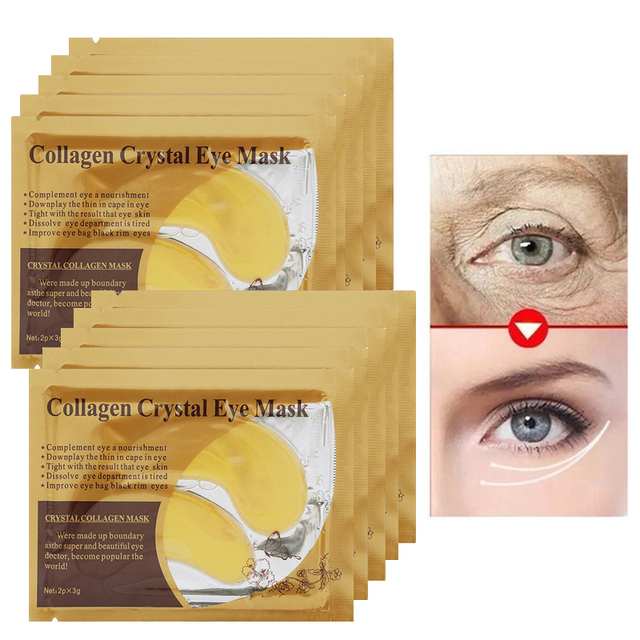 US $9 96 28% OFF|Golden Collagen Eye Mask Ageless Anti Wrinkle Eye Bags  Dark Circles Anti Puffiness Gel Eyes Patches Face Care Pads 30pair=60pcs-in