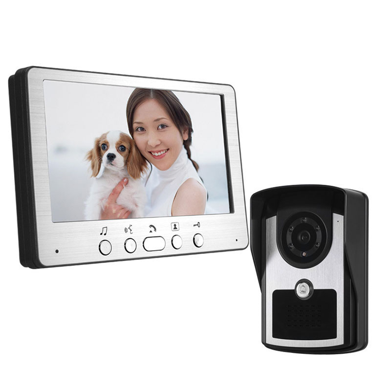 Visual Doorbell 7 inch door video phone 1 monitor 1 outdoor machine HD camera Infrared night vision home security system