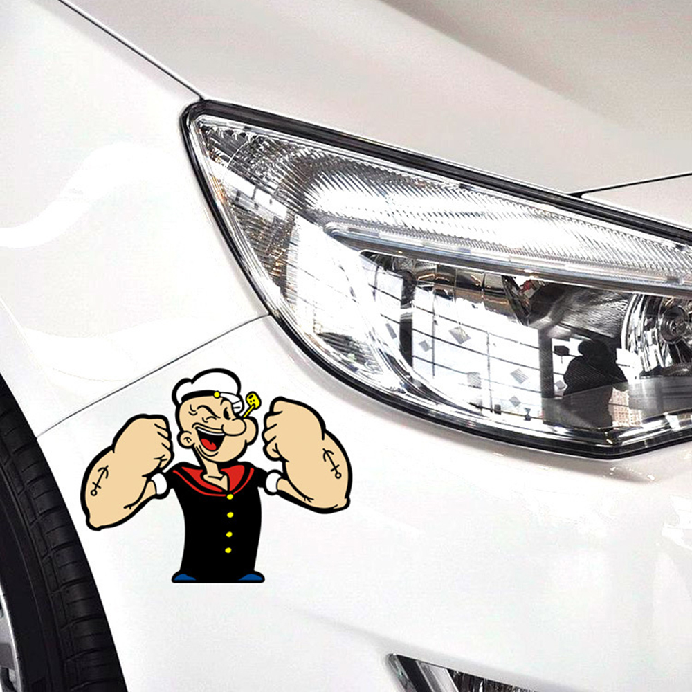 Aliauto Car-styling Popeye Action Funny Car Sticker and Decal for Ford Focus Vw Skoda Polo Golf Toyoya Hyundai Peugeot Renault