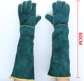 цена на Free shipping hot selling 60cm super length cow split genuine leather welding working safety gloves high temperature insulated