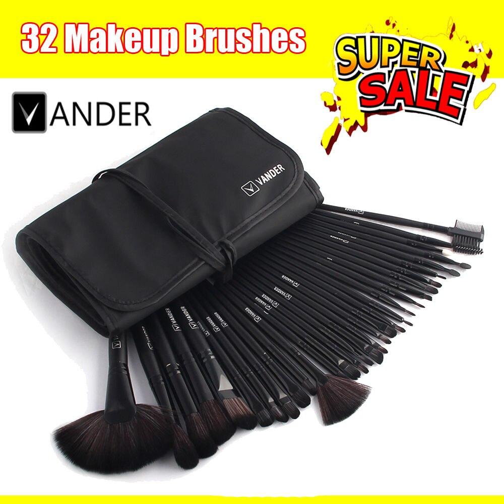 VANDER Professional 32 pcs Makeup Brushes Set For Women Fashion Soft Vander Eyebrow Shadow Make Up Brush Set Kit + Pouch Bag vander 8pcs professional rose pink