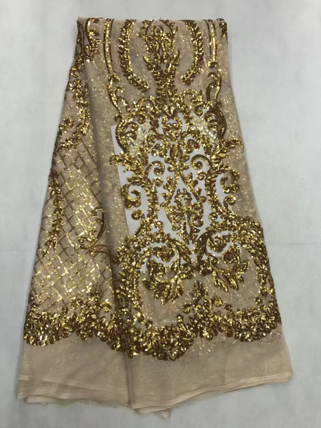 2017 Unique Design African Guipure Lace Fabric With Sequins High Quality Cord Lace Fabirc Sequin Lace Fabric For Wedding Dress