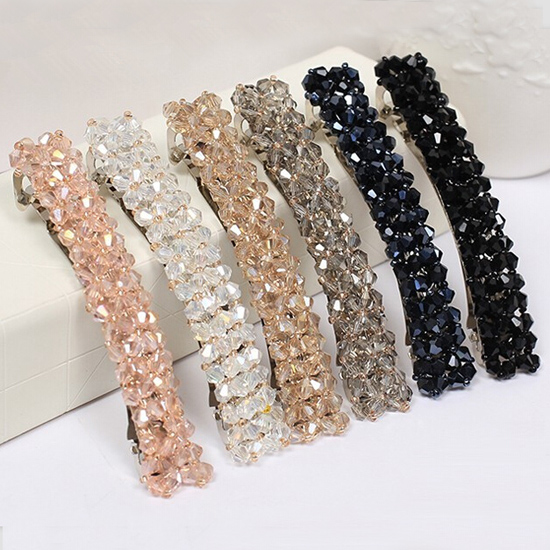 LNRRABC Hair Clip Women Crystal Beads Barrette Cheveux Headband Hairband Cute HairGrip Headwear Accessory Fashion Jewelry 1 pcs lot women crystal beads hairband awaytr new black side flower hair band headband for girls 2017 korean style headwear