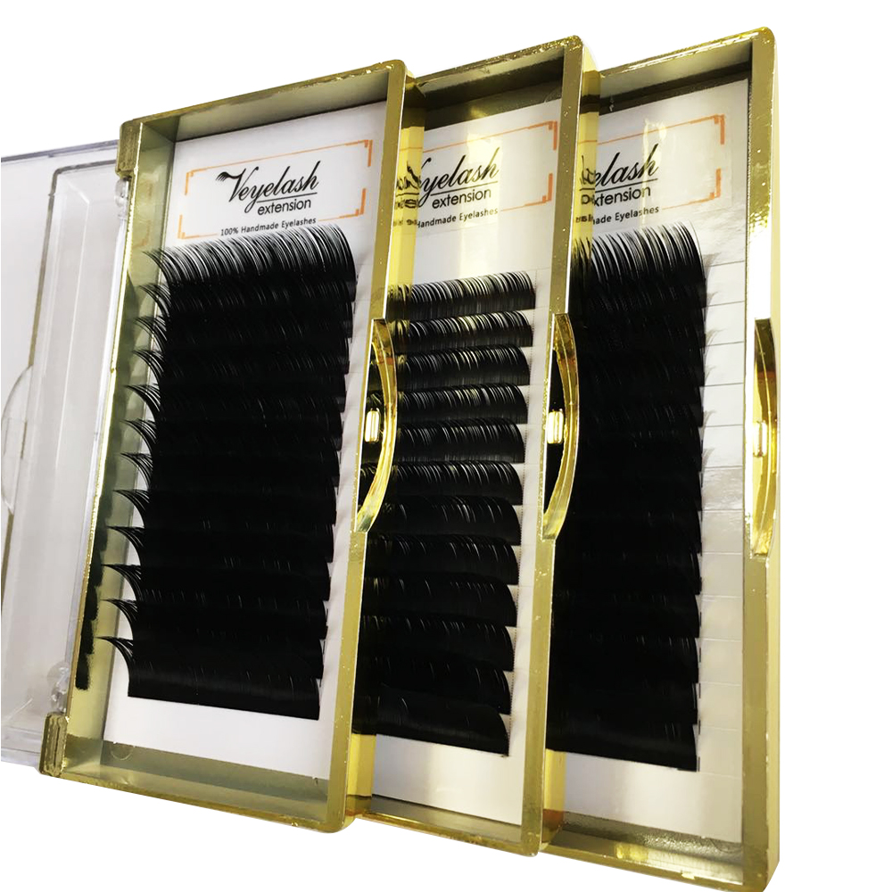 12 Rows/case 8-17mm Synthetic Russian Volume Extensions Fake Eyelashes Faux Mink LashesNatural Long Individual Lash Extension