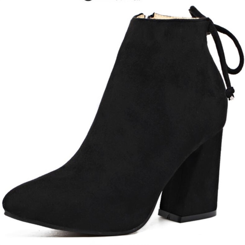 HiHopGirls 2017 New Hot women Boots Winter Square High heels shoes pointed toe ankle zipper snow boots woman solid short plush vankaring shoes 2017 women ankle boots side zipper square toe hoof heels comfortable high quality short plush blet buckle boots