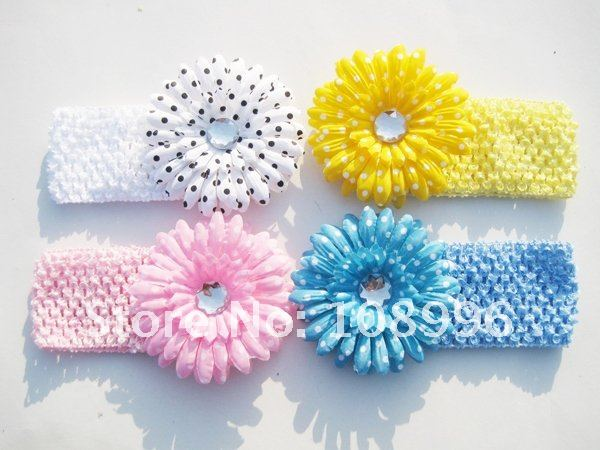 Free Shipping 4 Color Crochet Head Band With Gerbera Daisy Flowers