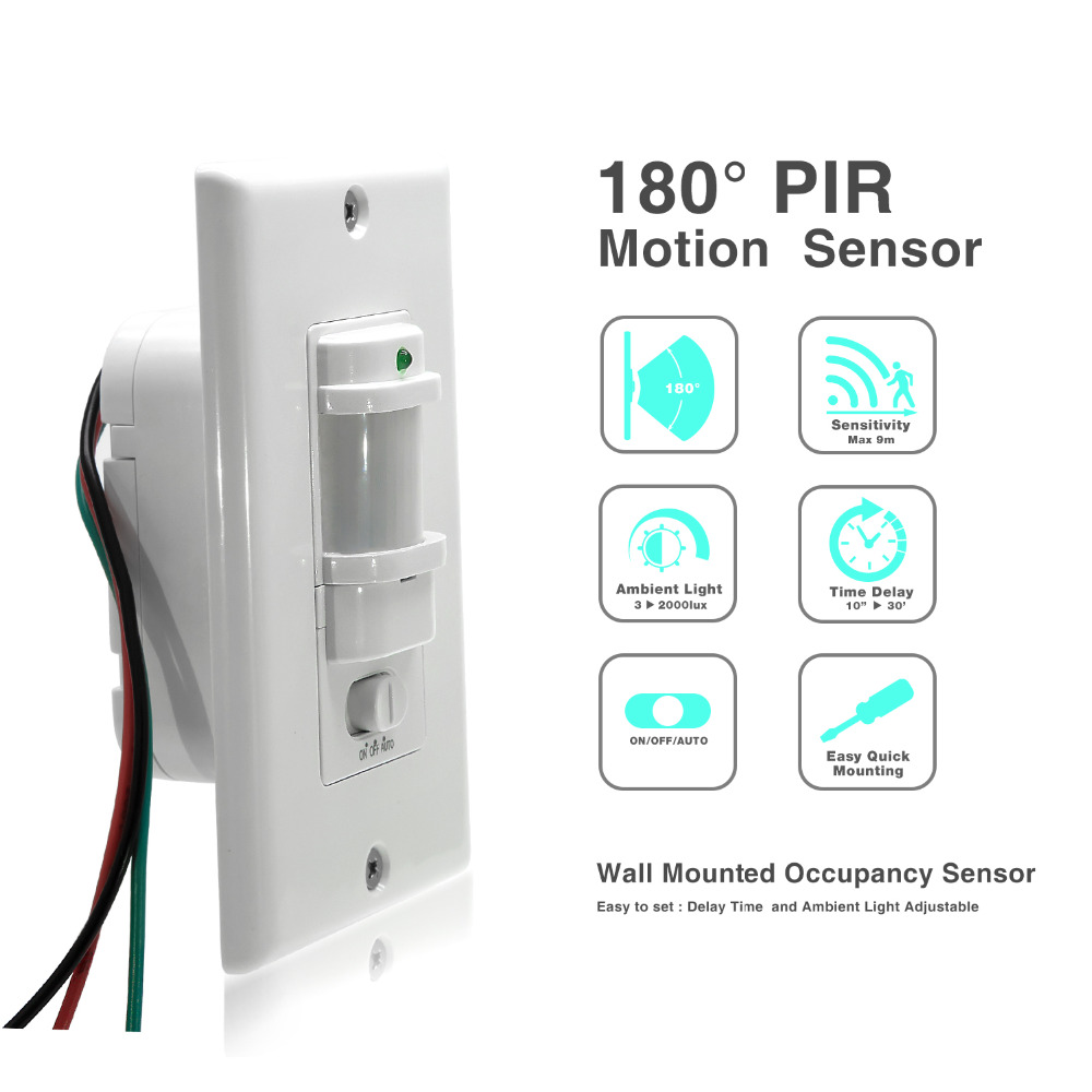 110V 220V AC Wall Mounted Body Motion Sensor ON OFF AUTO PIR Infrared switch for led lighting high quality wall mounted pir motion sensor light switch max 600w load 9m max distance 1pc gs45