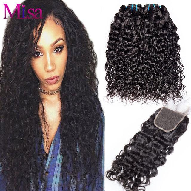 Mi Lisa Water Wave Bundles With Closure 3 Bundles Human Hair Weave