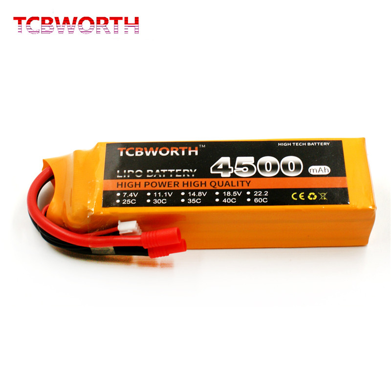 New RC 2S LiPo battery 7.4V 4500mAh 25C 40C Pour RC Helicopter Quadrotor Drone Airplane AKKU Truck Li-ion battery TCBWORTH tcbworth 2s 7 4v 5000mah 25c rc lipo battery for rc airplane quadrotor