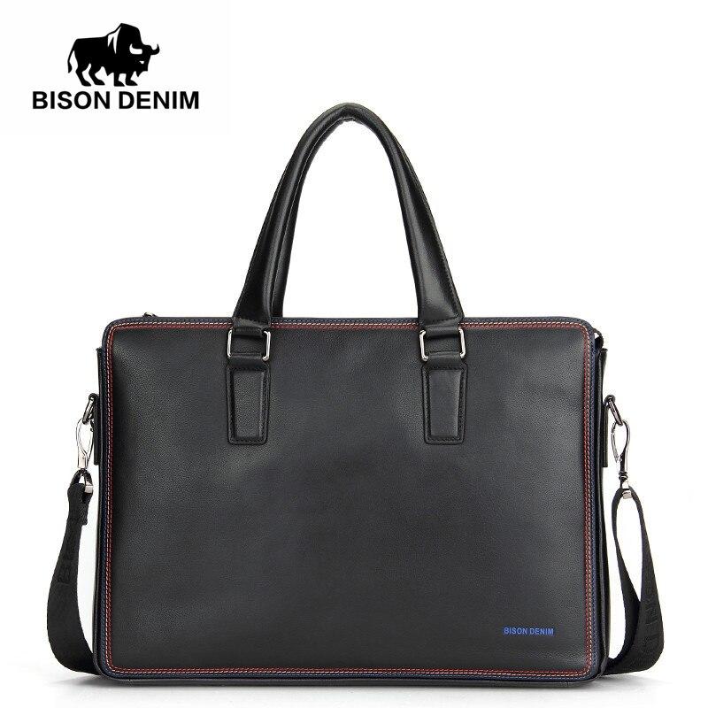 BISON DENIM Luxury famous brand handbag shoulder bags business men briefcase laptop bolsos men's travel bags genuine leather bag