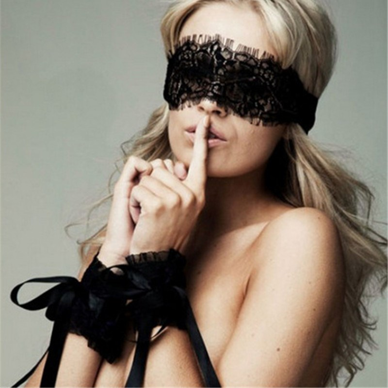 Women Sexy Lingerie hot Exotic Accessories Black Lace Eye Covers with 1 pair Hand Wrap Gloves Sex Underwear(China)