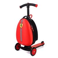 Ferrari Children Travel Boarding box Luggage Trolley Bag Suitcase Scooter Folding Travel Kick Push 3 Wheel For 3 10 years Kids