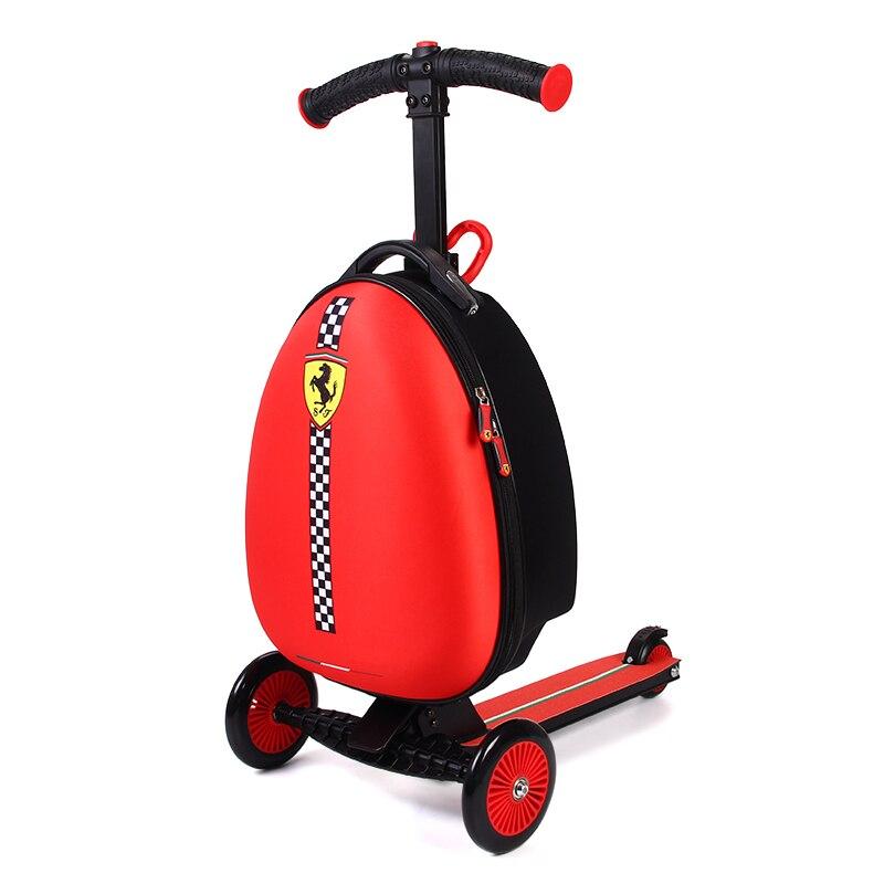 Ferrari Kinder Reise Boarding-box Gepäck Trolley Koffer Roller Falten Reise Kick Push-3 Rad Für 3-10 jahre Kinder
