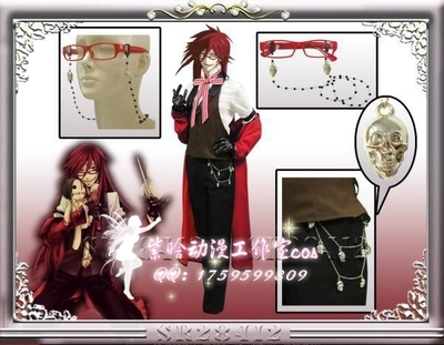 Christmas Hallowmas Anime Black Butler Grell Sutcliff Party Fashion Uniform Suit Cosplay Costume Full Set +wigs Any Size NEW