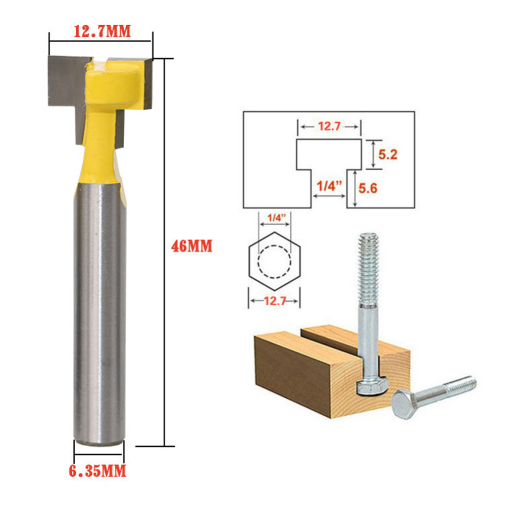 1pc Woodworking Tool 1/4 Inch Shank Carbide T Slot Lock Hole Cutter Router Bit Wood Milling Cutter Tool 1/2inch Diameter