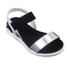 2017 Nuevas Mujeres de La Moda de Verano Zapatillas Sandalias de Playa Zapatos Femeninos Zapatos de Las Sandalias Sandalias de Punta abierta Niñas Roma sandalias de Playa Plana Suave Feb15